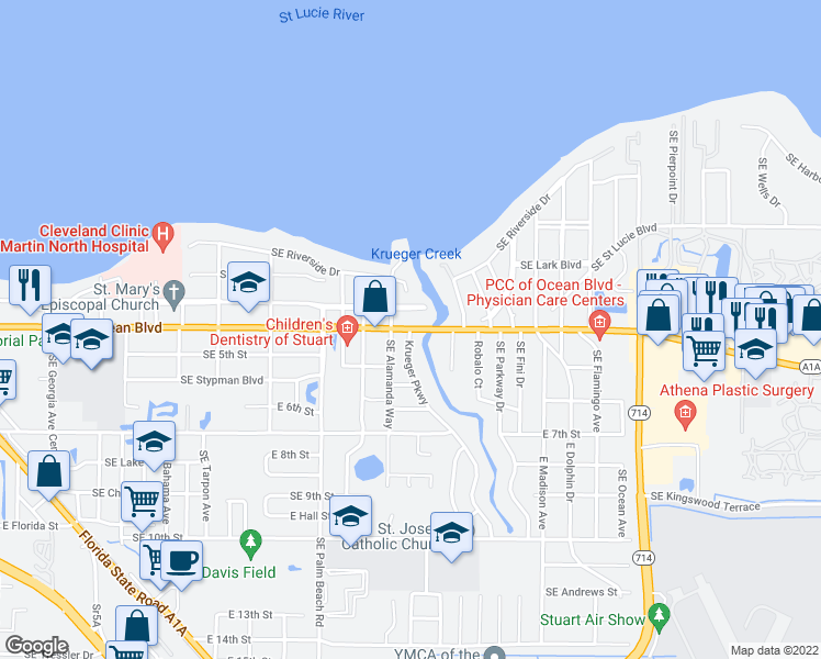 map of restaurants, bars, coffee shops, grocery stores, and more near SE Ocean Blvd & Krueger Pkwy in Stuart