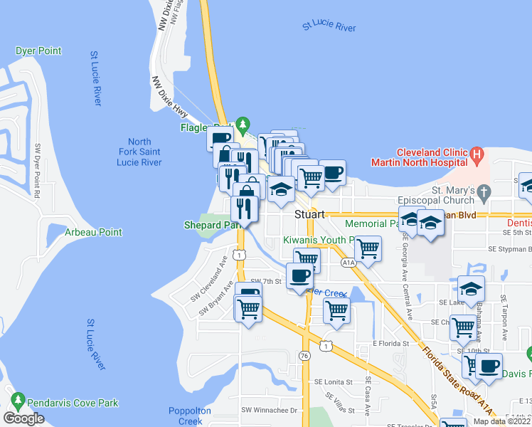 map of restaurants, bars, coffee shops, grocery stores, and more near 299 Southwest Ocean Boulevard in Stuart
