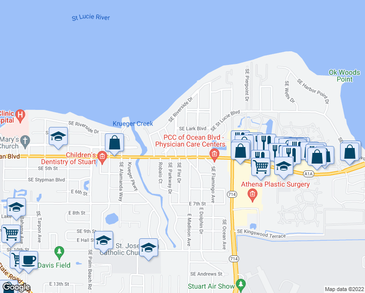 map of restaurants, bars, coffee shops, grocery stores, and more near 336 East Oriole Avenue in Stuart