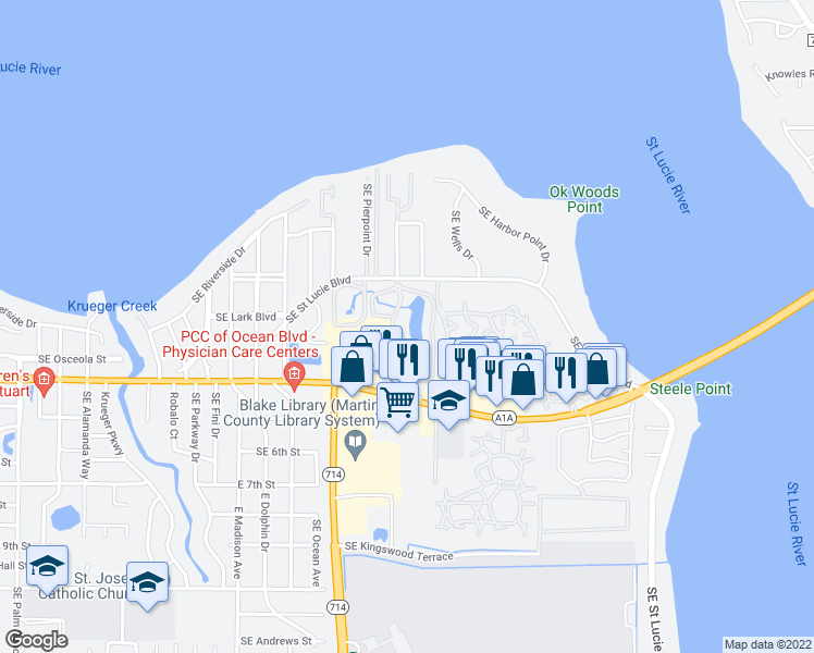 map of restaurants, bars, coffee shops, grocery stores, and more near 300 SE St Lucie Blvd in Stuart