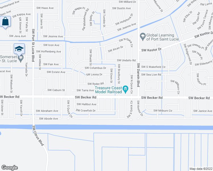 map of restaurants, bars, coffee shops, grocery stores, and more near 450 Southwest Ryder Road in Port St. Lucie