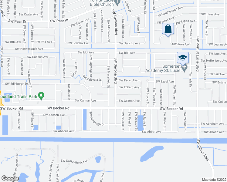 map of restaurants, bars, coffee shops, grocery stores, and more near 4512 Southwest Savona Boulevard in Port St. Lucie