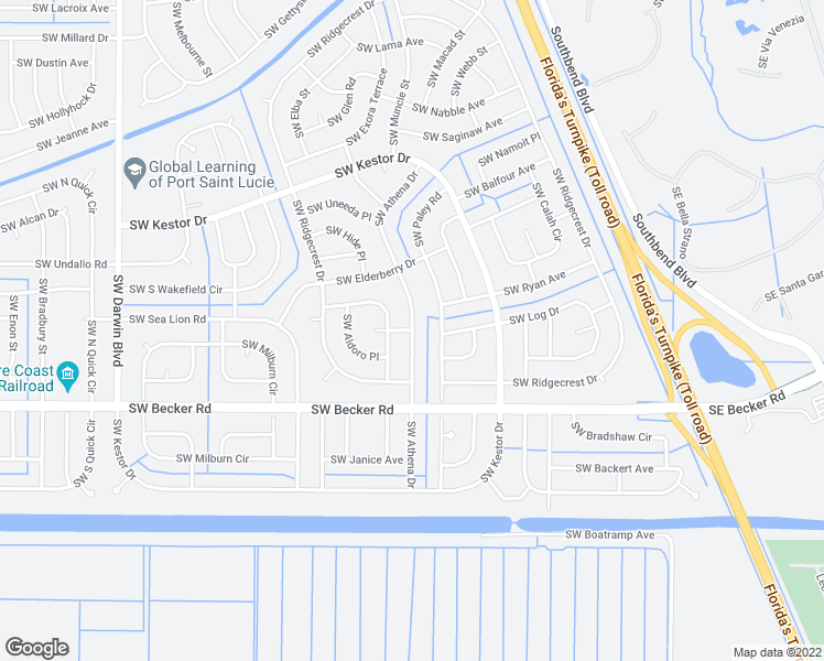 map of restaurants, bars, coffee shops, grocery stores, and more near 200 Southwest Ike Place in Port St. Lucie