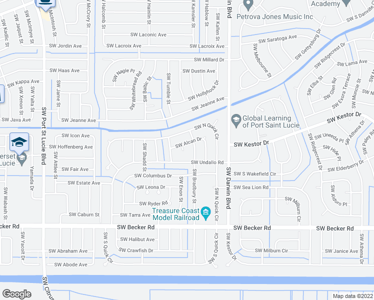 map of restaurants, bars, coffee shops, grocery stores, and more near 374 Southwest Tahoe Court in Port St. Lucie