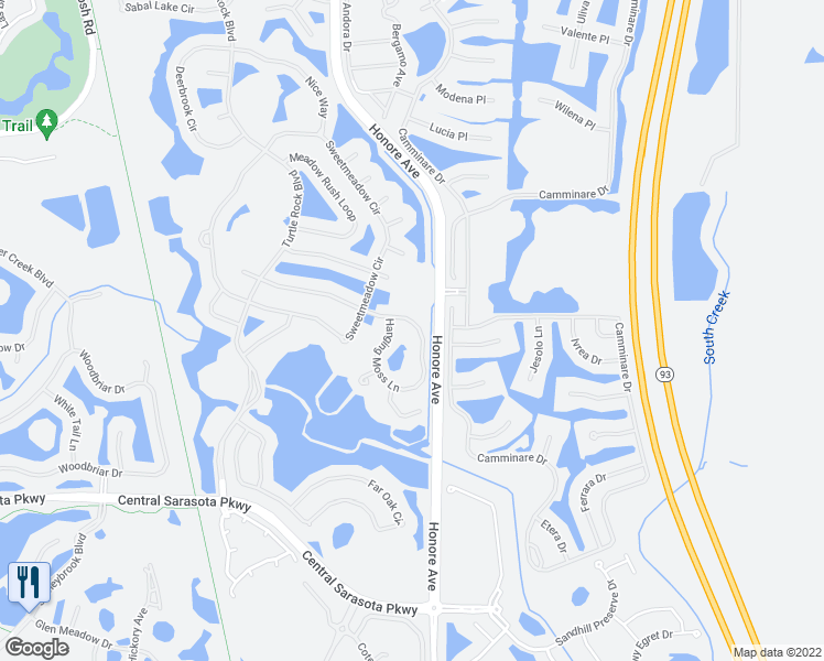map of restaurants, bars, coffee shops, grocery stores, and more near 5022 Hanging Moss Lane in Sarasota