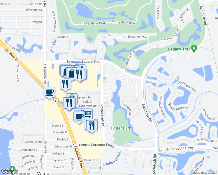 map of restaurants, bars, coffee shops, grocery stores, and more near 4033 Crockers Lake Boulevard in Sarasota