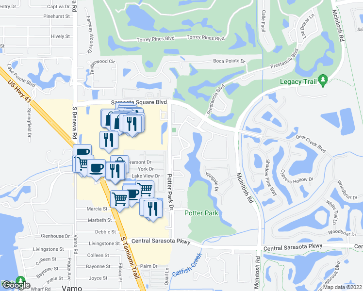 map of restaurants, bars, coffee shops, grocery stores, and more near 4002 Crockers Lake Boulevard in Sarasota