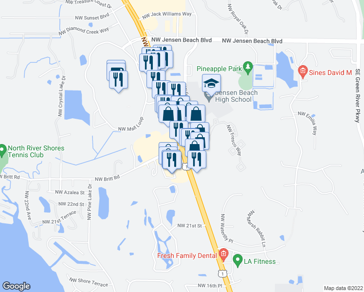 map of restaurants, bars, coffee shops, grocery stores, and more near US-1 & NW Britt Rd in Stuart