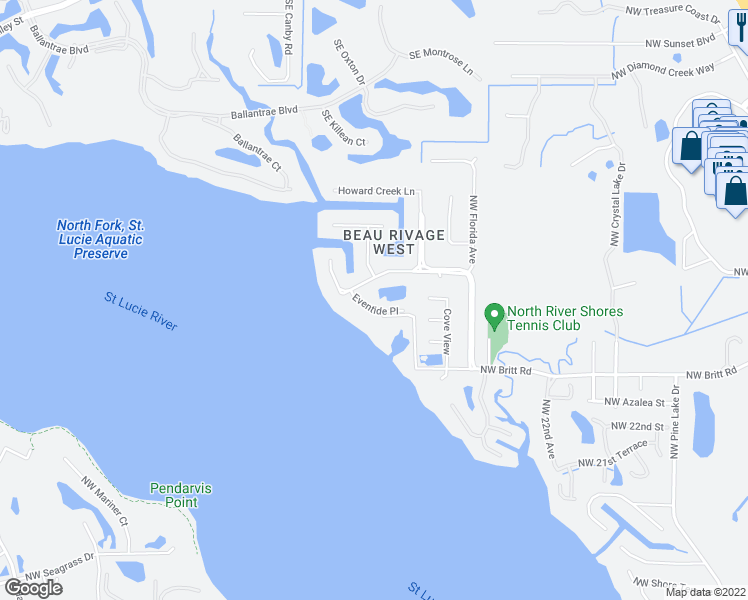 map of restaurants, bars, coffee shops, grocery stores, and more near 3302 Eventide Place in Stuart