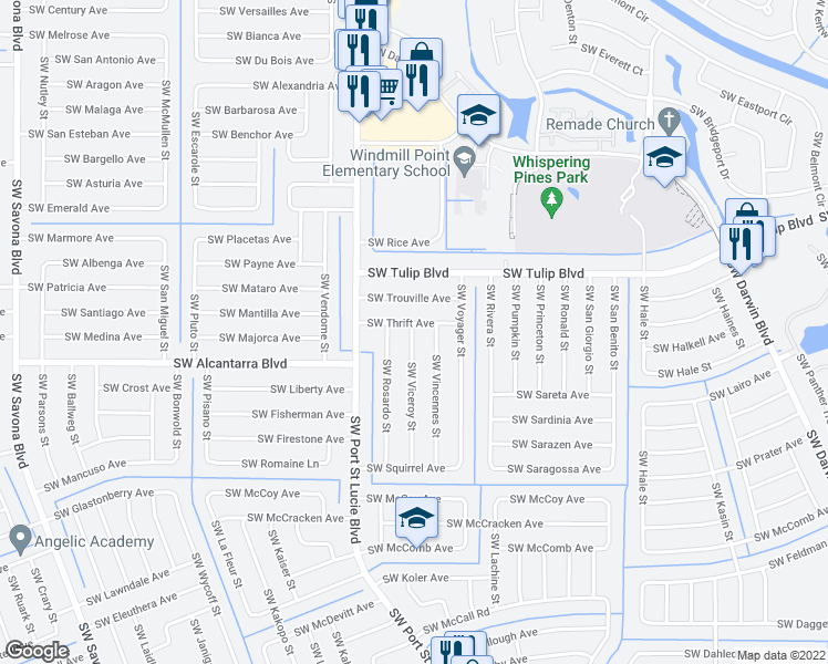 map of restaurants, bars, coffee shops, grocery stores, and more near 836 Southwest Thrift Avenue in Port St. Lucie