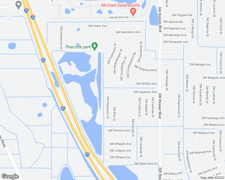 map of restaurants, bars, coffee shops, grocery stores, and more near 1881 Southwest Capehart Avenue in Port St. Lucie