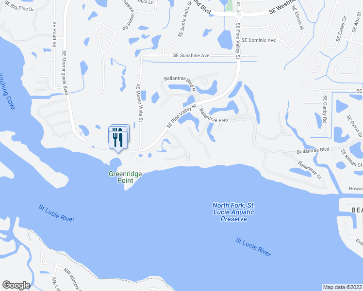 map of restaurants, bars, coffee shops, grocery stores, and more near 3414 Southeast Sandpiper Court in Port St. Lucie