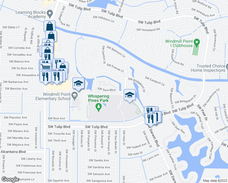 map of restaurants, bars, coffee shops, grocery stores, and more near 590 Southwest Sara Boulevard in Port St. Lucie