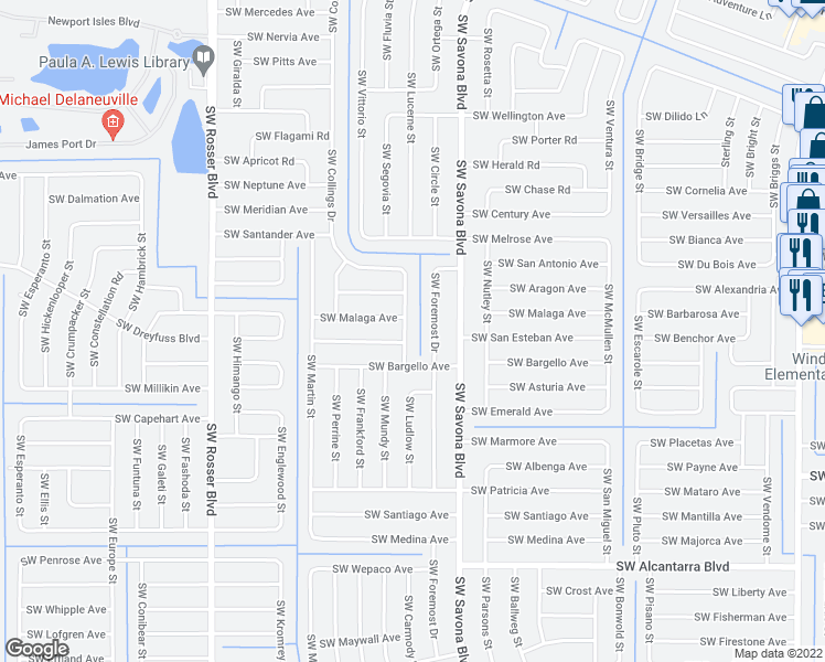 map of restaurants, bars, coffee shops, grocery stores, and more near 3249 Southwest Collings Drive in Port St. Lucie