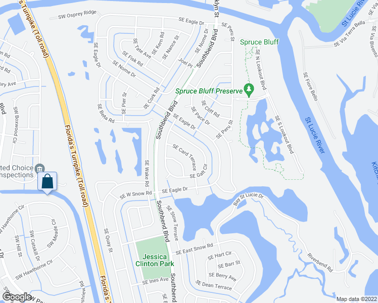 map of restaurants, bars, coffee shops, grocery stores, and more near 3121 Southeast Card Terrace in Port Saint Lucie