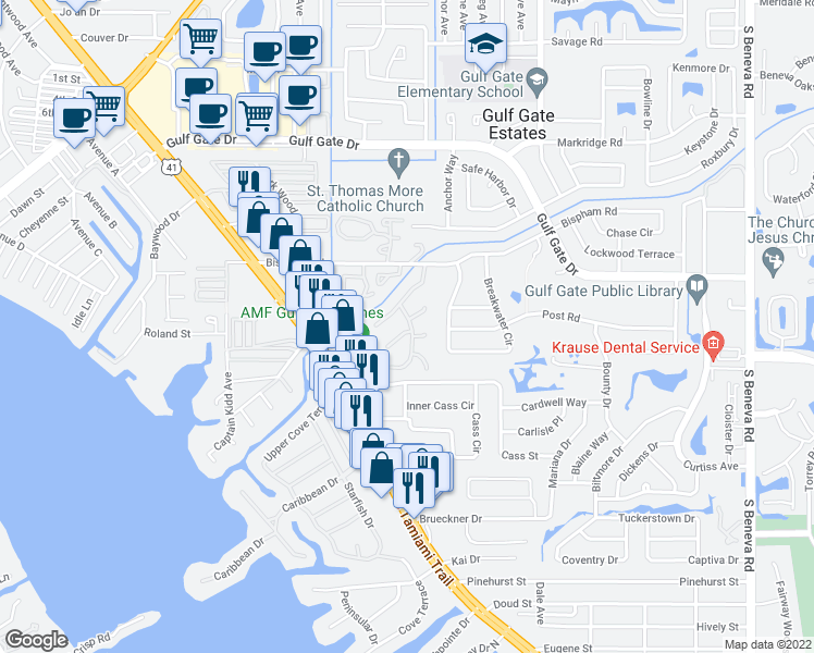 map of restaurants, bars, coffee shops, grocery stores, and more near 7172 Grey Squirrel Boulevard in Sarasota