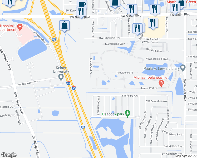 map of restaurants, bars, coffee shops, grocery stores, and more near 2887 Cedar Dunes Drive in Port Saint Lucie