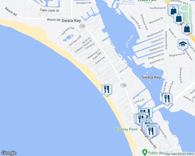 map of restaurants, bars, coffee shops, grocery stores, and more near 6100 Midnight Pass Road in Sarasota