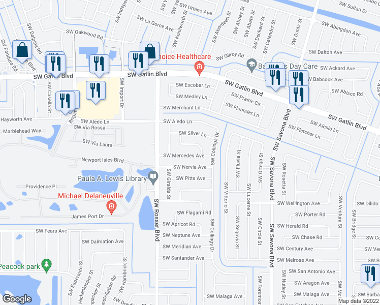 map of restaurants, bars, coffee shops, grocery stores, and more near 1585 Southwest Mercedes Avenue in Port St. Lucie