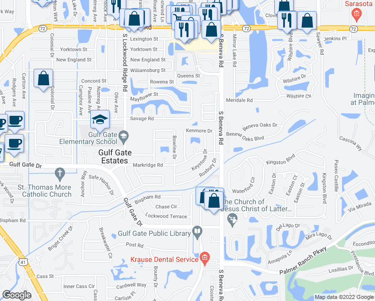 map of restaurants, bars, coffee shops, grocery stores, and more near 3224 Kenmore Drive in Sarasota