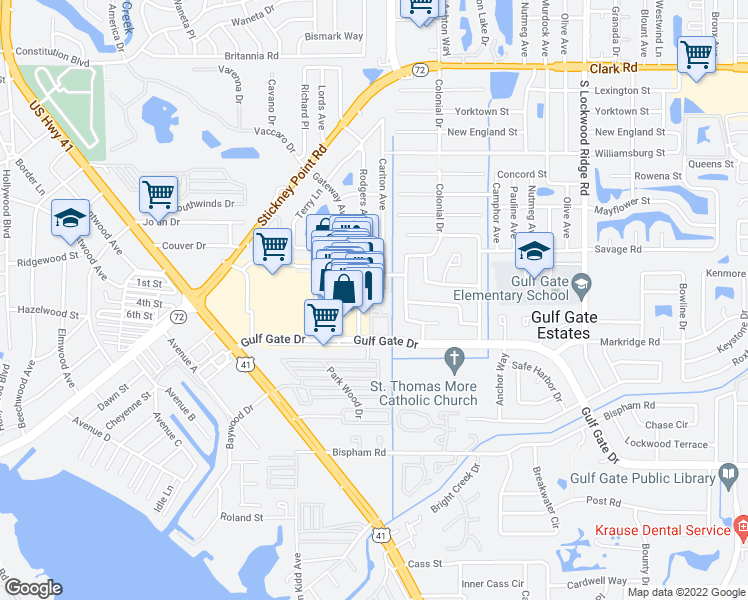 map of restaurants, bars, coffee shops, grocery stores, and more near 6551 Gulf Gate Place in Sarasota