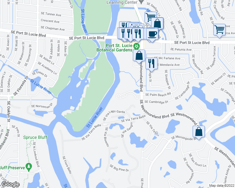 map of restaurants, bars, coffee shops, grocery stores, and more near 2518 Southeast Anchorage Cove in Port Saint Lucie