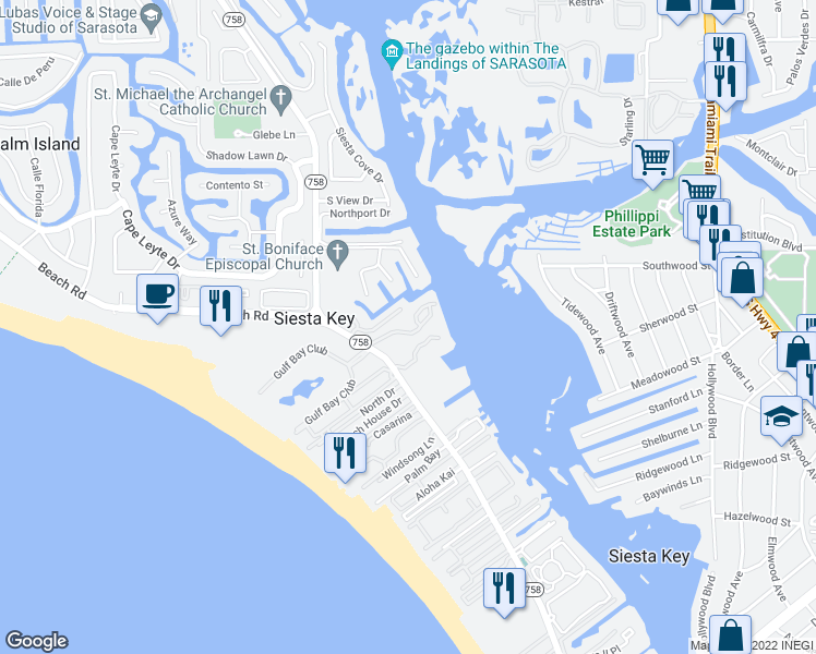map of restaurants, bars, coffee shops, grocery stores, and more near 1391 Siesta Bayside Drive in Sarasota