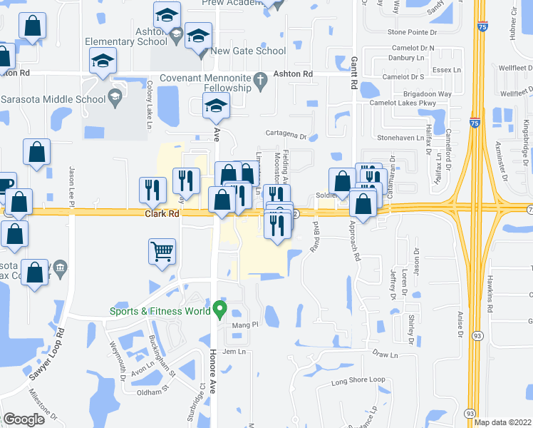 map of restaurants, bars, coffee shops, grocery stores, and more near Clark Road in Sarasota