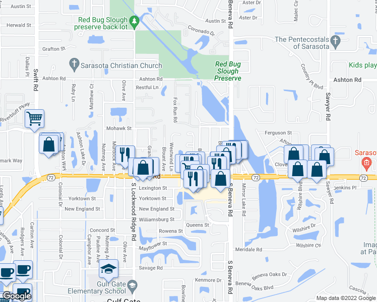 map of restaurants, bars, coffee shops, grocery stores, and more near 3451 Clark Road in Sarasota