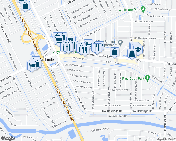 map of restaurants, bars, coffee shops, grocery stores, and more near 219 Southwest Statler Avenue in Port St. Lucie