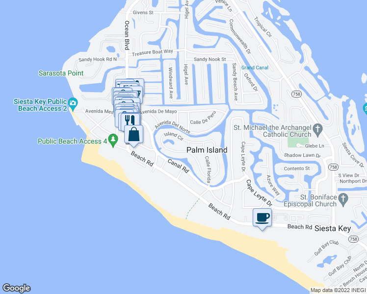 map of restaurants, bars, coffee shops, grocery stores, and more near 387 Island Circle in Siesta Key