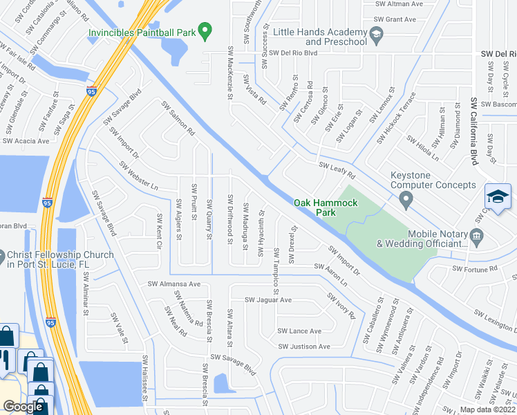 map of restaurants, bars, coffee shops, grocery stores, and more near 2106 Southwest Hyacinth Street in Port St. Lucie