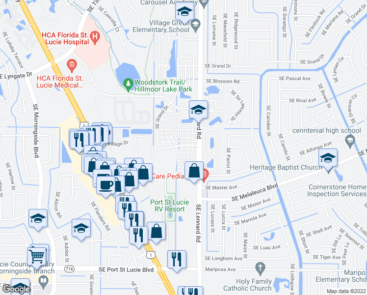 map of restaurants, bars, coffee shops, grocery stores, and more near 2152 Southeast Destin Drive in Port St. Lucie