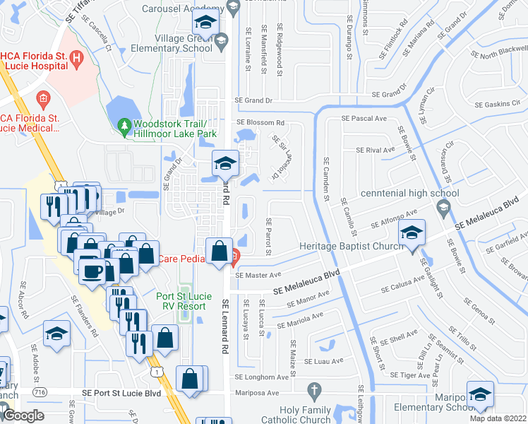 map of restaurants, bars, coffee shops, grocery stores, and more near 2020 Southeast Parrot Street in Port Saint Lucie