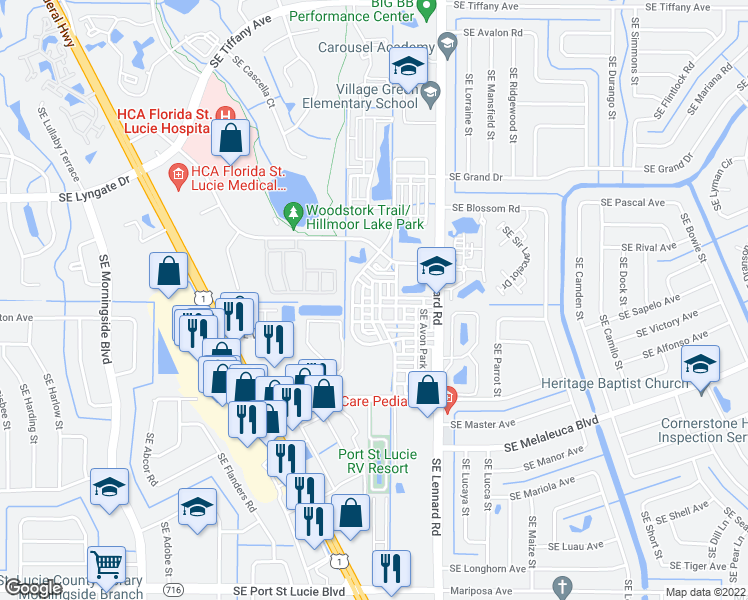 map of restaurants, bars, coffee shops, grocery stores, and more near 1920 Southeast High Springs Drive in Port St. Lucie