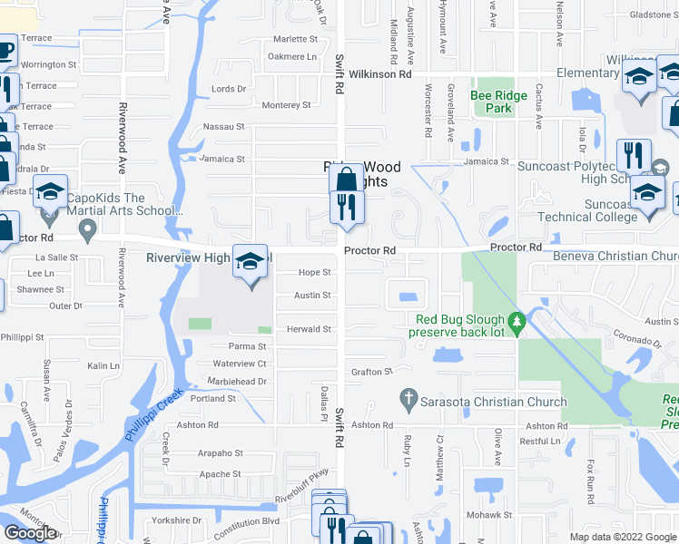 map of restaurants, bars, coffee shops, grocery stores, and more near Swift Road & Hope Street in Sarasota