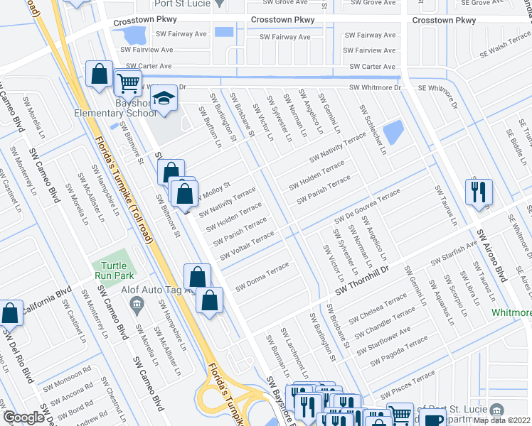 map of restaurants, bars, coffee shops, grocery stores, and more near 401 Southwest Parish Terrace in Port St. Lucie