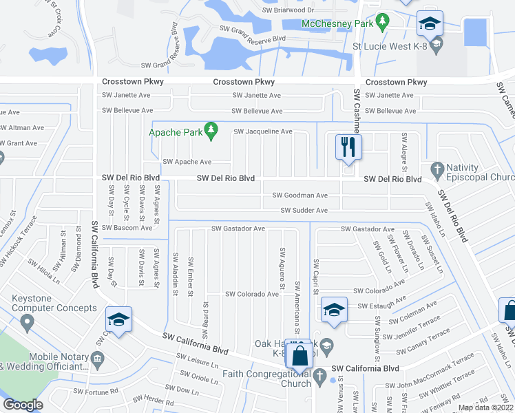 map of restaurants, bars, coffee shops, grocery stores, and more near 1401 Southwest Sudder Avenue in Port St. Lucie