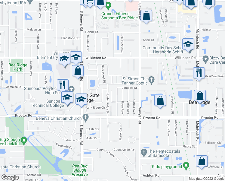 map of restaurants, bars, coffee shops, grocery stores, and more near 4611 Hollingsworth Avenue in Sarasota