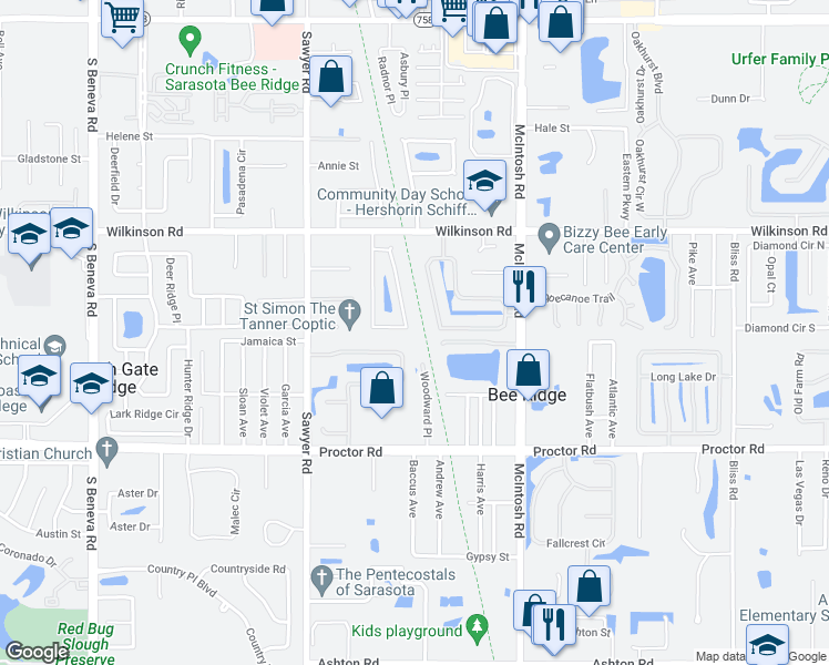 map of restaurants, bars, coffee shops, grocery stores, and more near 4442 Meadow Creek Circle in Sarasota
