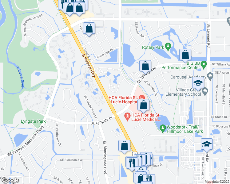 map of restaurants, bars, coffee shops, grocery stores, and more near 1531 Southeast Royal Green Circle in Port St. Lucie
