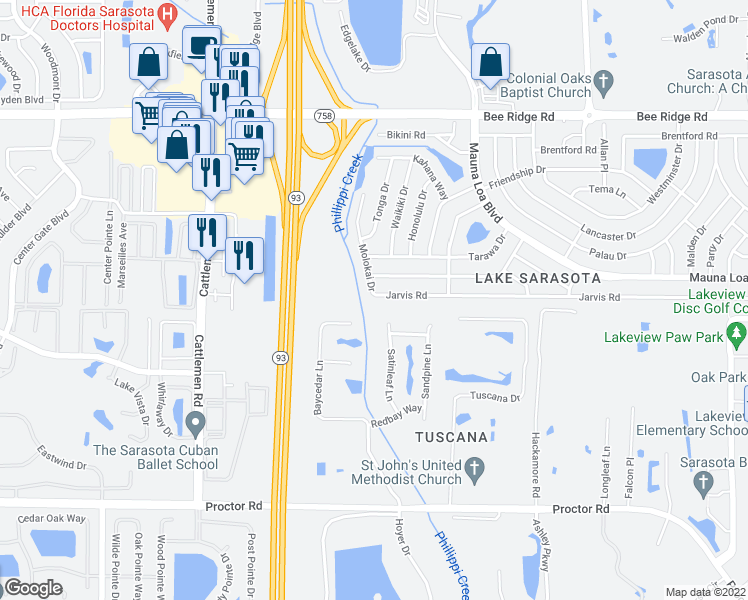 map of restaurants, bars, coffee shops, grocery stores, and more near 6288 Jarvis Road in Sarasota