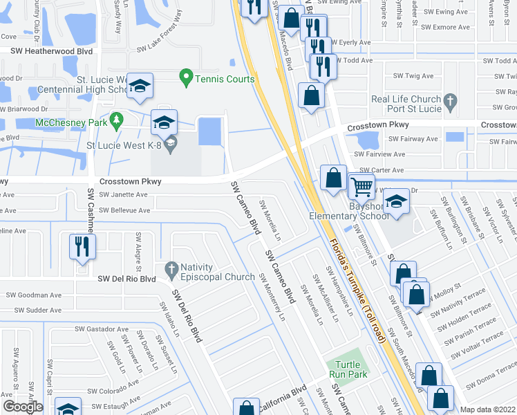 map of restaurants, bars, coffee shops, grocery stores, and more near 1618 Southwest Morelia Lane in Port St. Lucie