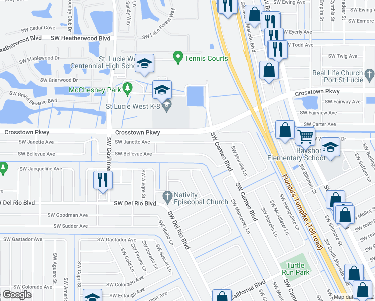 map of restaurants, bars, coffee shops, grocery stores, and more near 951 Southwest Bellevue Avenue in Port St. Lucie