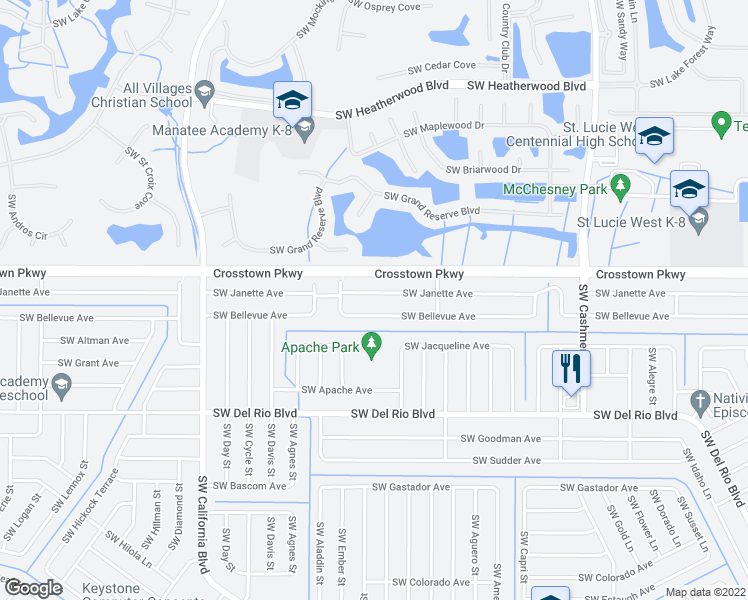 map of restaurants, bars, coffee shops, grocery stores, and more near 1362 Southwest Janette Avenue in Port St. Lucie