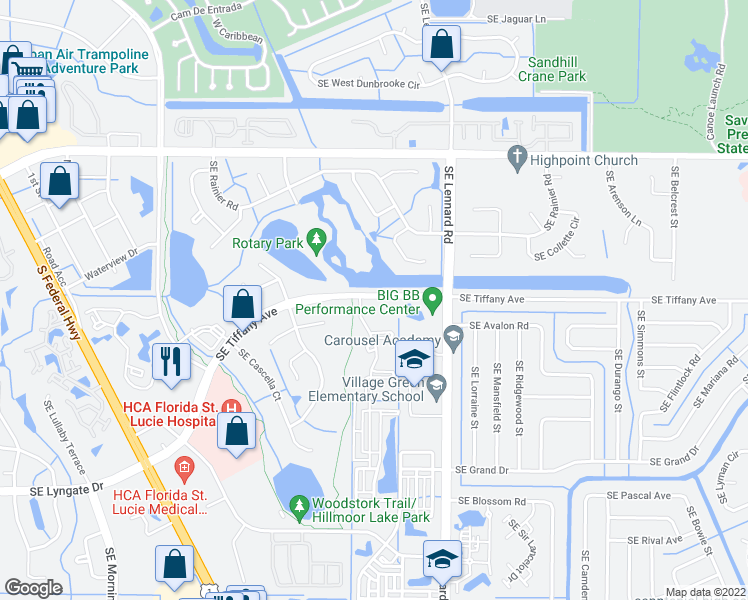 map of restaurants, bars, coffee shops, grocery stores, and more near in Port Saint Lucie