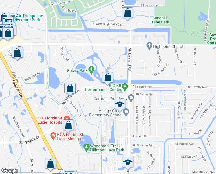 map of restaurants, bars, coffee shops, grocery stores, and more near 2136 Southeast Tiffany Avenue in Port St. Lucie