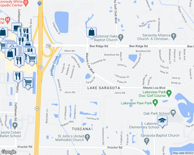 map of restaurants, bars, coffee shops, grocery stores, and more near 6674 Mauna Loa Boulevard in Sarasota