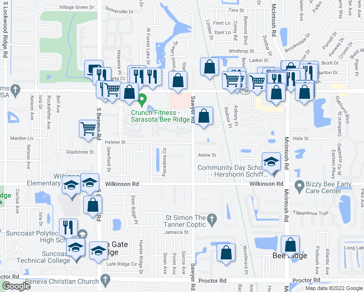 map of restaurants, bars, coffee shops, grocery stores, and more near 3972 Helene Street in Sarasota