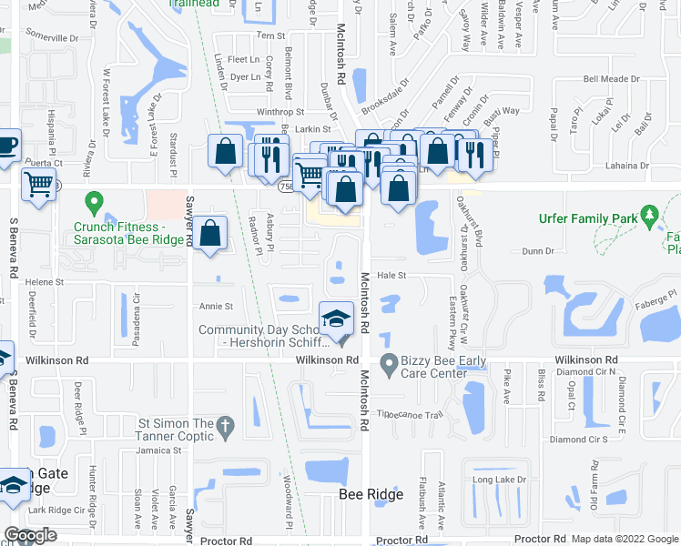 map of restaurants, bars, coffee shops, grocery stores, and more near 4001 North Taggart Cay in Sarasota